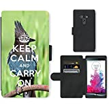 PU Cuir Flip Etui Portefeuille Coque Case Cover véritable Leather Housse Couvrir Couverture Fermeture Magnetique Silicone Support Carte Slots Protection Shell // Q01014393 keep calm and carry on 682 // LG G3