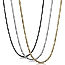 Sailimue 3 Peizas 2MM Acero Inoxidable Collar para Hombre Mujer Cadena Collars Negro Plata y Dorado, 41-76CM