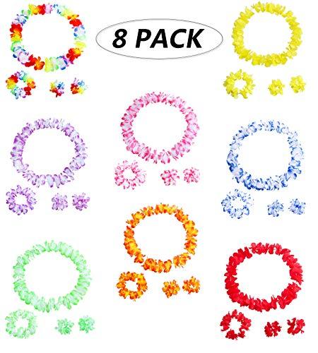 Muzboo 8Pack-32 Pcs für Hawaiian Kranz für Kinder / Erwachsene,Luau Party Supplies,Hawaiian Flower Halskette,Stirnband und Armband - Hawaiian Decor Party Set,Beach Decor,Birthday Party Vorteile