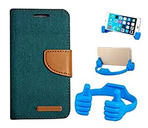 Aart Fancy Wallet Dairy Jeans Flip Case Cover for MotorolaMotorola-MotoG (Green) + Flexible Portable Mount Cradle Thumb OK Designed Stand Holder By Aart Store.