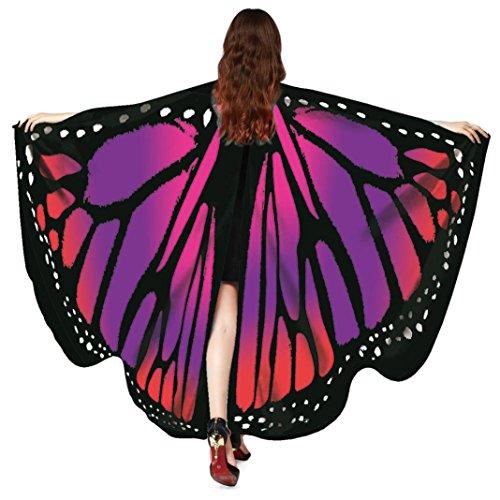 Schmetterling Kostüm Dasongff Damen Schmetterlings Flügel Schal Schmetterlingsflügel Schal Schals Nymphe Pixie Poncho Kostüm Zubehör für Fasching/Halloween/ Karneval (168 * 135CM, Rot) (Vintage Pin Up Mädchen Kostüm)