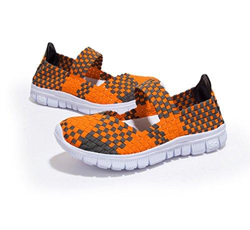 ... Anguang Damen Gewebt Leichtgewicht Elastische Flache Schuhe Trainer  Komfort Schlüpfen Sport Wasser Schuhe Orange ...