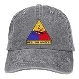 Bixungan Army 2nd Armored Division Vintage Adjustable Denim Hat Baseball Cap for Adult