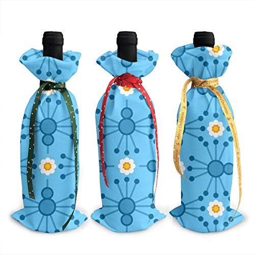 Wine Bags Pin Bird Bloom Blue Champagne Wine Bottle Bags Covers for Wedding Party Holiday 3 Pieces Set (Pin Bird Blue)