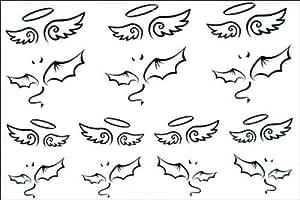Ailes d'ange de la mode faux tatouages modèles étanches de femmes en noir et blanc totem tatouage temporaire