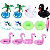 12 Stück Aufblasbarer Getränkehalter Flamingos Schwäne Kokosnussbaum Regenbogen Poolbar Getränkehalter Wasser Flaschenhalter für Bier Saft Cocktail Bade Spielzeug für Schwimmbad Strand Pool-Party