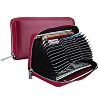 Credit Card Holder, TEOYALL Women Mens RFID Blocking Leather Wallet Card Case Long Purse Passport Holder with Zipper - 36 Card Slots (Red)