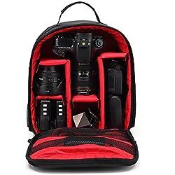 Sac à Dos pour Caméra Covermason HUWANG appareil photo sac à dos sac caisson étanche pour Canon à Nikon pour Sony (Rouge)