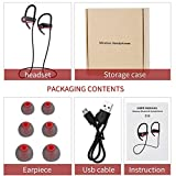 fggfgjg Wireless Headphones Sports Earphones Stereo Sound for Gym Running Black-Red