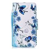 Solaxi Wiko Lenny 3 Hülle Leder Case, Wiko Lenny 3 Lederhülle Mode Blumen Schmetterling Muster HandyHülle Brieftasche Schutzhülle Elegant Handytasche, Blau