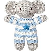 Spiegelburg 13970 Häkel-Rassel Elefant BabyGlück, hellblau