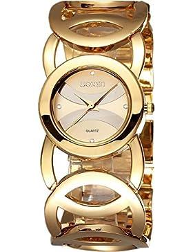 Schön Niedlich Hand Damen Luxus goldfarbene crystal-accented Armband Armbanduhr