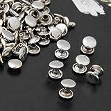 Ecloud Shop 100pcs 9mm Silber Kupfer Runde Leder Fertigkeit DIY Rapid-Bolzen Nieten Lochen für Gürtel