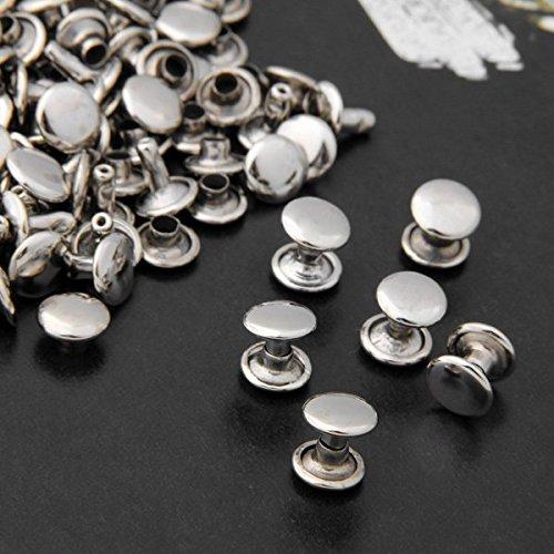 Ecloud Shop® 100pcs 9mm Silber Kupfer Runde Leder Fertigkeit DIY Rapid-Bolzen Nieten Lochen für Gürtel