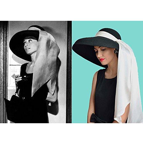 Audrey Hepburn Frühstück bei Tiffany Holly Golightly übergroßen Premium Black Wool Hat
