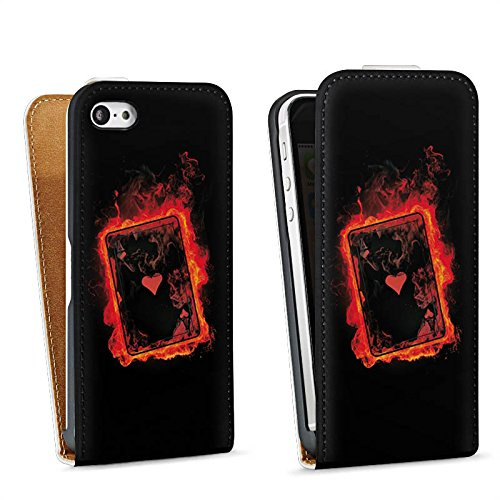 Apple iPhone 5 Housse Étui Silicone Coque Protection Ass C½ur Cartes Sac Downflip blanc