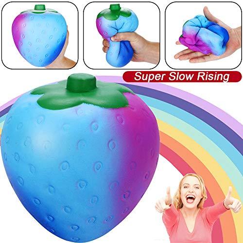 (mxjeeio 17x13.5cm Bunt Erdbeere Squishy Spielzeug,Parfümierte Squeeze Toy, Slowly Rising Toy für Stress Relief Niedlich Rising Spielzeug für Kinder Erwachsene Weihnachtsdeko)