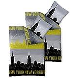 Bettwäsche 4tlg 135x200 Baumwolle Set Kopfkissen Bettbezug Reißverschluss atmungsaktiv Bett Garnitur 80x80 Kissen Bezug CelinaTex 0003724 Fashion USA Skyline New York grau gelg schwarz