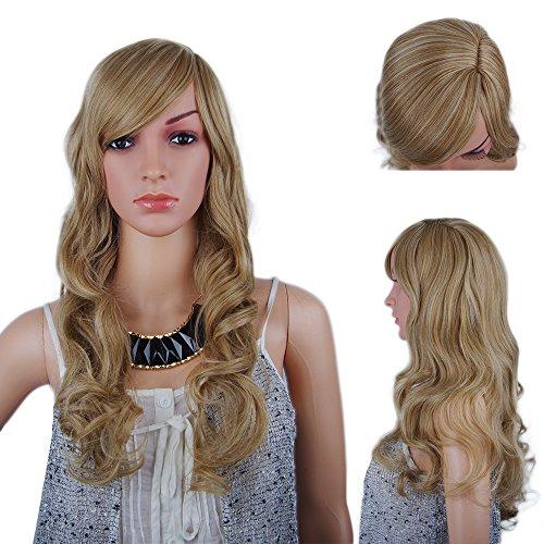 spretty Hohe Qualität Lang Lockig flauschig Perücke Farbe Dirty Blonde für elegante Damen täglich Kleid und (Von Flapper Kleider Bilder)