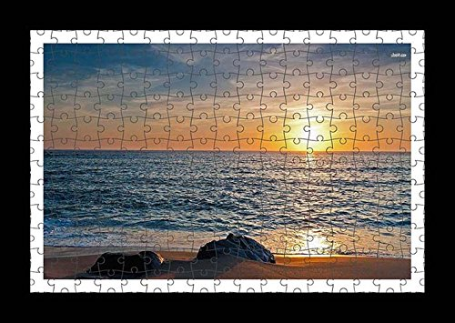 puzzle-style-vormontiert-wand-druck-von-rocks-on-sandy-beach-by-lisa-loft