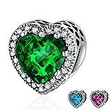YOUFENG Jewellery Herren Damen Kinder Unisex - 925-Sterling Sterling-Silber 925 Herzschliff Red Green Blue zirkonia