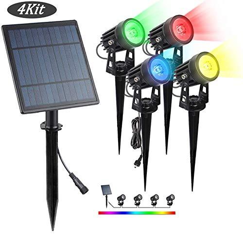 AOKARLIA 4 er Pack Gartenbeleuchtung Außenleuchte 4 in 1 Gartenleuchte mit erdspieß, LED Gartenstrahler RGB, 4 * 3W, Wasserdicht Gartenlicht Gartenlampe Spotbeleuchtung,4Kit