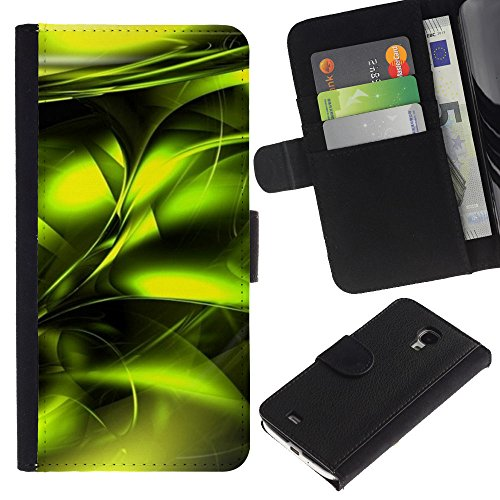 UberTech / Samsung Galaxy S4 Mini i9190 MINI VERSION! / Green Poison Vibrant Metallic Black / U Cuoio Custodia Portafoglio Snello caso copertura Shell armatura Case Cover Wallet Credit Card