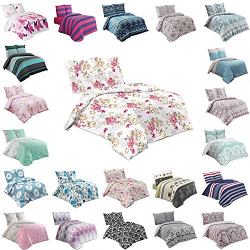 Buymax Bettwäsche Bettbezug 155x220 cm, Kopfkissenbezug 80x80 cm 2 teilig Bettgarnitur Bettwäsche - Set Baumwolle Renforcé mit Reißverschluss Oeko-Tex