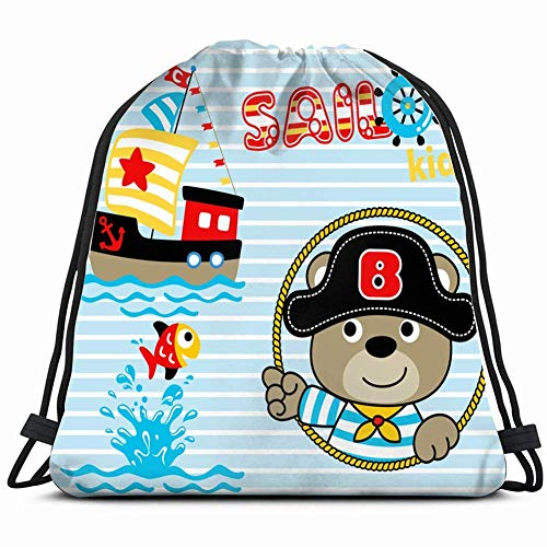 DHNKW Sailor Cartoon Pirate hat Sailboat Cute Animals Wildlife Transportation Special Backpack Sack Bag Gym Bag for Men & Women 17X14 Inch (Sailor Hats Cute)