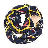 JAGENIE Womens Double Layer Secret Versteckte Reißverschlusstasche Infinity Loop Schal Boho Style Floral Geometrische Striped Printed Kontrast Farbe Winter Ring Kuscheldecke Schal