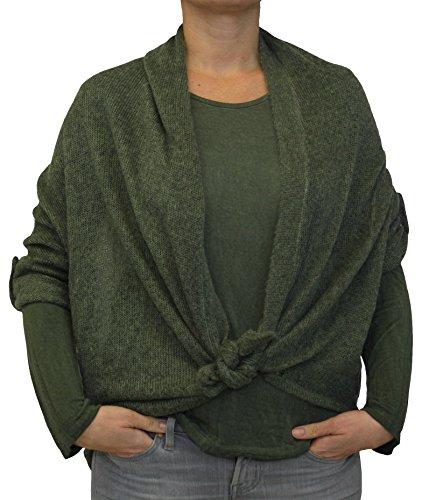 2241 Damen Pullover Strick Jacke Mohair Farbe Grün Konfektionsgröße 36 38 40 42 Internationale Größe S M L XL Unigröße grün