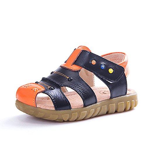 KVbaby Jungen Mädchen Geschlossene Sandalen aus weichem Leder Sandalen Kinder Outdoor biegsame Sohle Trekkingsandalen Lauflernschuhe Klettverschluss -