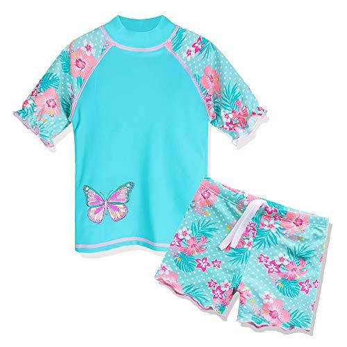 HUAANIUE Kinder Bademode Set Badeanzug mit UV-Schutz Sommer Strand Sonnenschutz Kleidung,Cyan,8-9 Jahre(Etikett 10A)
