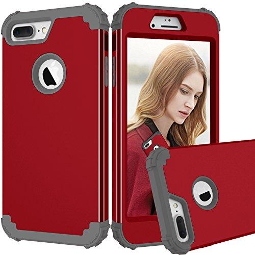 FullProtecter Kompatibel mit iPhone 8 Plus Hülle, [Tough Armor TECH] Schwerschutz 【Anti-Fall Doppelte Schutzschicht & Extrem Hoher 【HD-Schutzfilm geben】 -Rot -
