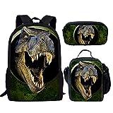 HUGS IDEA Dinosaur Backpack Set 3D Animals Green School Book Bag with Lunch