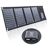 Lightweight Solar Panel Charger 20�W/5�V 2.1�A Dual USB 2.5�A RAVPower High Conversion of powerful Solar-Powered Portable Foldable Waterproof USB Power Bank for iPad, iPhone, Tablet, Pda, Mp3, Mp4, Digital Camera, Devices, 6�V Battery, 9�V, 3.7�V Battery, 18�V Devices 12�V Battery