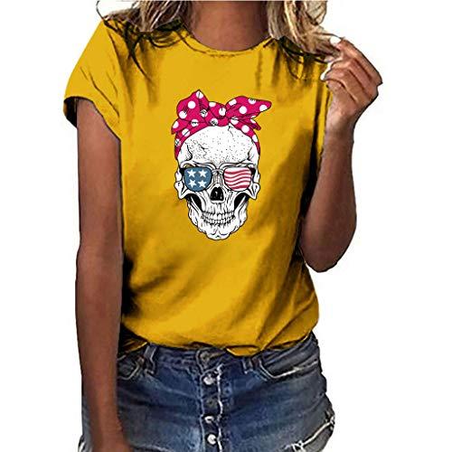 Lazzboy Donna Ragazze T-Shirt Top Skull Skeleton Stampare Rock Funny Manica Corta Largo Bluse(L(42),Mostarda Giallo-Stelle Cranio)
