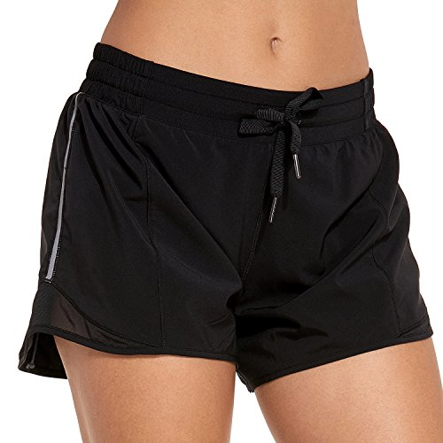 CRZ YOGA Women's Drawstring Fitness Athletic Sports Running Shorts with Pocket - 4 inch