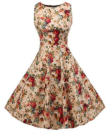 Vintage 1950 vestito da cocktail del vestito da partito picnic Floral Spring Garden Party (M, Apricot Floral) - Cane Pan