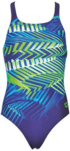 arena Mädchen Sport Badeanzug Spike (Schnelltrocknend, UV-Schutz UPF 50+, Chlorresistent, Offener Rücken), Navy-Leaf (706), 152