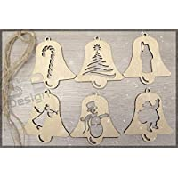 6 Pieces Christmas Set 4 - Wood | Tags | Ornaments | Wooden | Cutout | Hanging | Crafts | Embellishments | Tree | Bauble | Craft | DIY