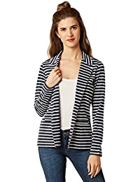 Miss Chase Women's Blue and White Striped Blazer Jacket