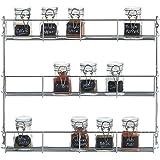 VonShef Porte-épices/Etagère à épices 3 niveaux sur mur ou porte de placard – Montage facile 35 x 41 x 6.2 cm
