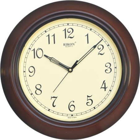 Rikon Quartz Plastic Round Shape 33 cm X 33 cm Fancy Premium Home Decor Wall Clock (Brown Ivory) For Home And Office