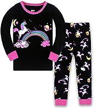 LitBud Navidad Pijamas de Las niñas pequeñas 100% algodón Jirafa Ropa de Dormir Pijama de Manga Larga pjs Conj