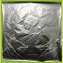 25 Fogli Foglia Argento da Argento, 14x 14 cm, Metallo battuto
