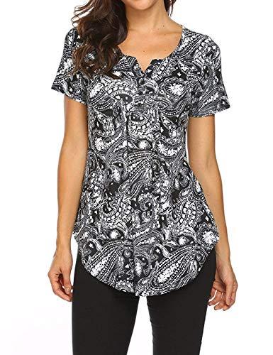 Avacoo Damen Kurzarm T Shirt Paisley V-Ausschnitt Tops Tunika Baumwolle Bluse Schwarz S -
