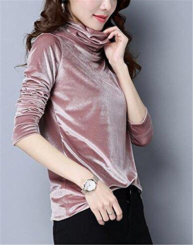 Tayaho Pullovers Manches Longues Femmes Automne Sweat Casual Couleur Unie Haut Turtle Neck Classique Tops Basique Court Pullovers Confortable ElÉGant pink