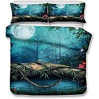 Ropa de cama Funda de edredón y funda de almohada Estilo de bosque mágico Juego de