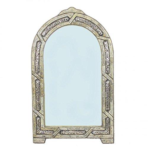 Casa Moro Orientalischer Wandspiegel marokkanischer Spiegel Miraat H 74 x B 44 cm aus Metall & Knochen | Schöne Dekoration für Wand Flur Zimmer | Kunsthandwerk aus Marrakesch | SP90498 - Knochen Metall Spiegel